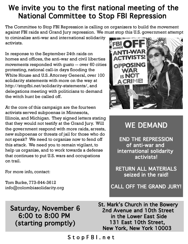 StopFBI National Meeting Flyer for Nov 6