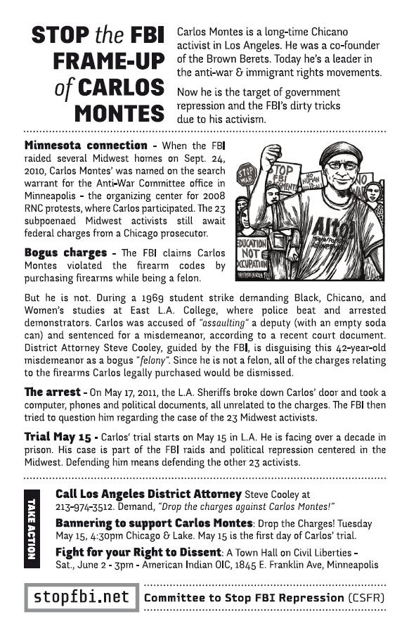 Flyer: Stop the FBI Frame-Up of Carlos Montes