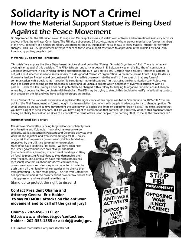 Solidarity is not a Crime: How the Material Support Statute is Being Used Against the Peace Movement