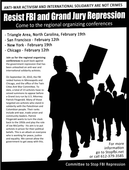 Resist FBI and Grand Jury repression: Come to the regional organizing conferences