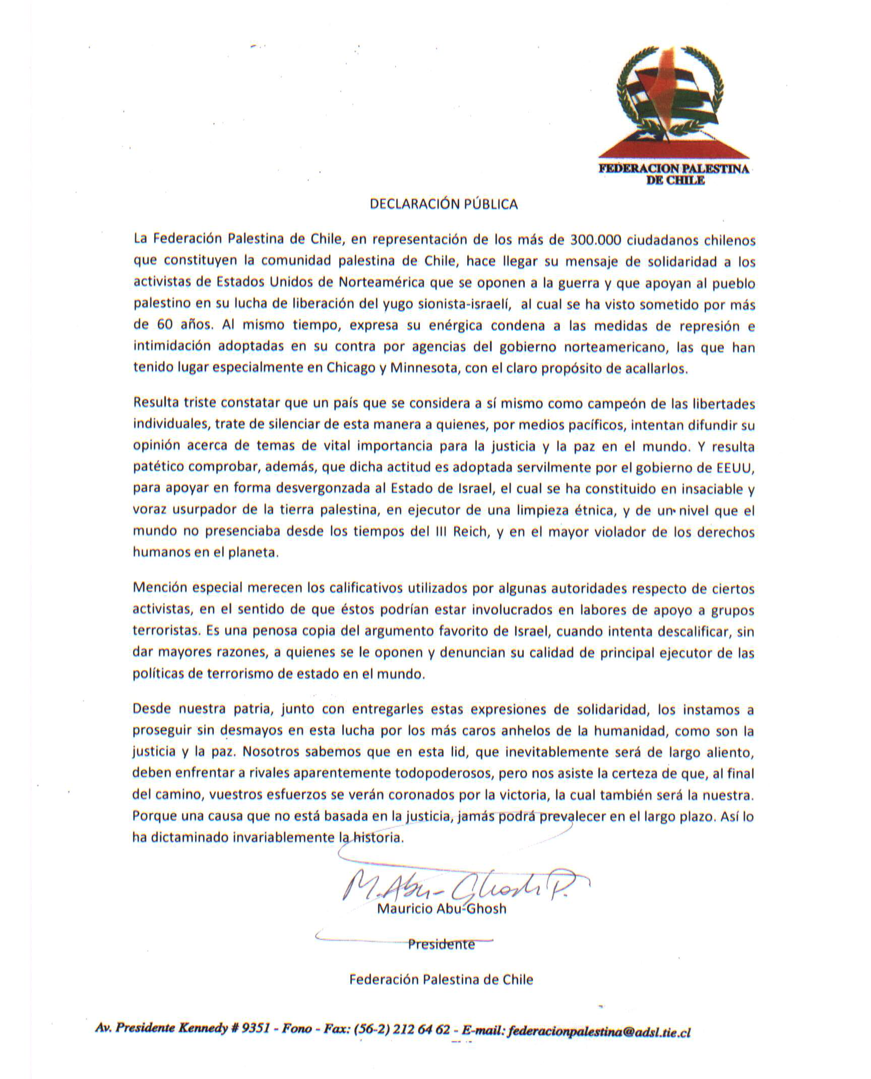 Public Declaration from the Palestinian Federation of Chile